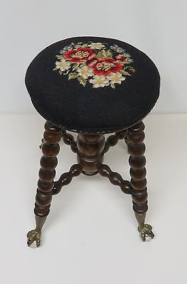 Antique Stool With Floral Design Needlepoint Top ~ Glass Ball & Brass Claw Feet