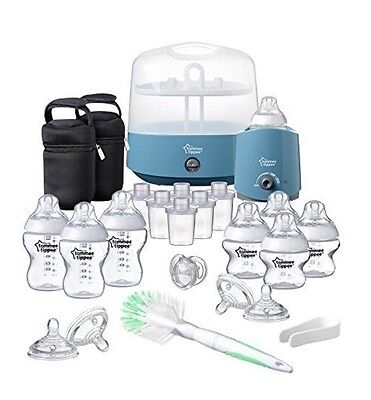 Tommee Tippee  Electric Steriliser Newborn Baby Feeding Essentials Set - Blue