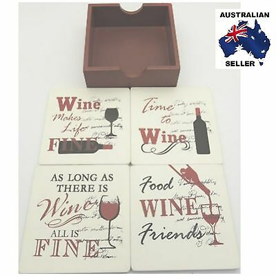 Wine Quote Wooden Drink Coasters Set of 4 - Bar & Home Decor- Great Gift