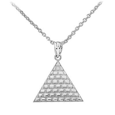Sterling Silver Egyptian Pyramid Geometric Triangle Pendant Necklace