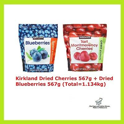 Kirkland Dried Cherries 567g + Dried Blueberries 567g (Total=1.134kg)