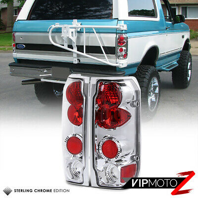 L+R Crystal Clear/Red Chrome Tail Light Lamps Ford 1989-1996 F150 1992-96 Bronco