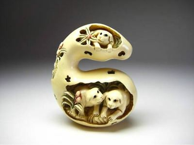 ANTIQUE JAPANESE CARVED NETSUKE Dog in the gourd MEIJI Period OKIMONO signed F/s