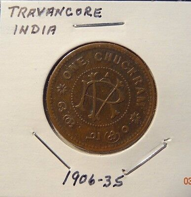 "India Princely State  Coin  ""Travancore""   RV    ""1906 - 1935 One Chuckram"""