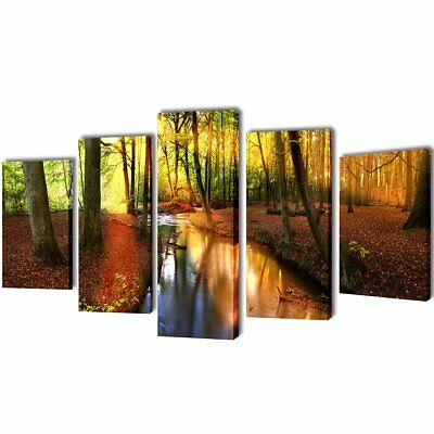 #Forest Canvas Prints Framed Wall Art Decor Painting Home Office 5 Panels Set