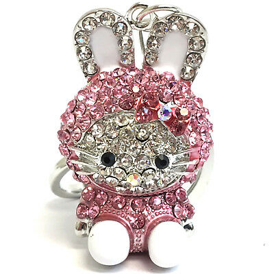 Hello Kitty Cute Pink and White Crystal Keychain