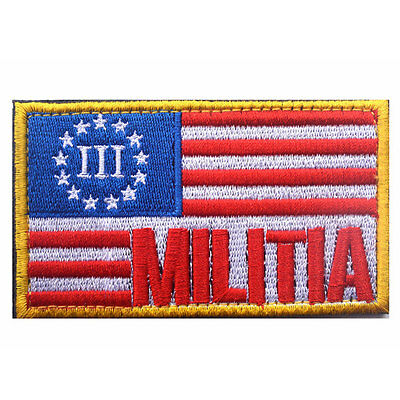 Militia USA American Flag Three Percenter Army Tactical Morale Badge OPS Patch