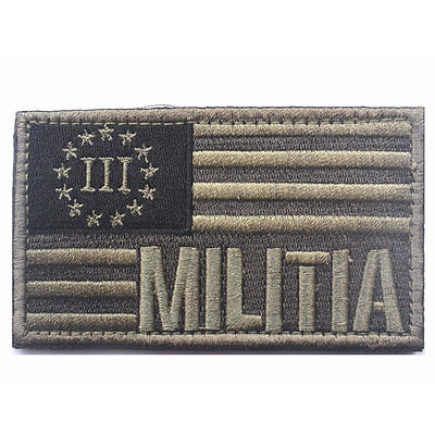 USA Militia Three Percenter 3% American Flag US Army Tactical Morale Medal Patch