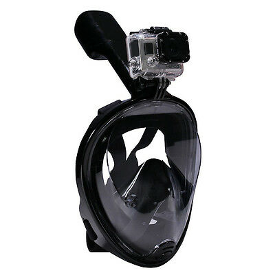 L/XL Swimming Full Face Anti-Fog Mask Surface Diving Snorkel Scuba forGoProBlack