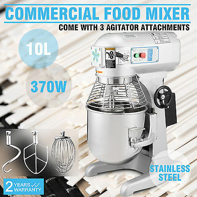 Brand New Commercial 10 Litre Food Mixer Stainless Steel 3 Speed 370W