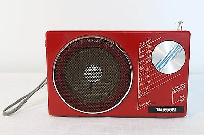 Vintage Portable Red Radio- Watson TR-4205, works