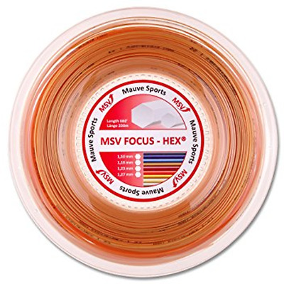 MSV Mauve Sports Focus Hex Tennis String REEL 1.23mm Gauge 200m Racquet GOLD