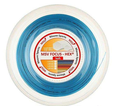 MSV Mauve Sports Focus Hex Tennis String REEL 1.23mm Gauge 200m Racquet SKY BLUE