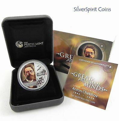 2010 GREAT RUSSIAN MINDS ANTON CHEKHOV Author150th Anniversary Silver Proof Coin