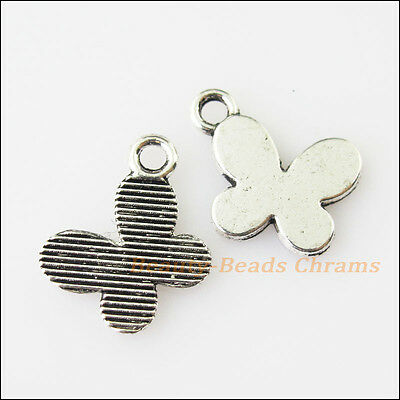 25 New Tiny Animal Butterfly Tibetan Silver Tone Charms Pendants 11x13.5mm