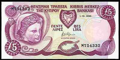 Cyprus. Five Pounds, M754332. 1-10-1990. Almost Uncirculated-Uncirculated.