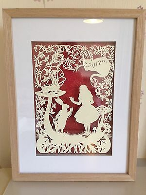 Alice In Wonderland Large Paper Cut. Handmade To Order. Framed.