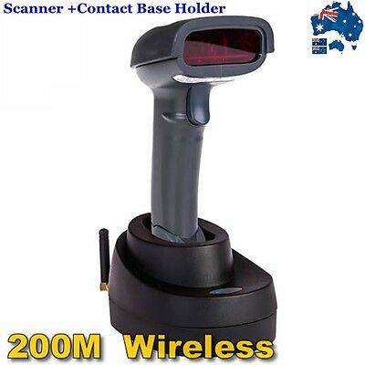 AU 2016 Wireless Laser USB Barcode Scanner Handheld Portable+Contact Base Holder
