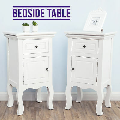 French Retro Bedside Table & 2 Drawer Cabinet Chest & White Nightstand Furniture