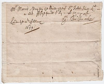 Clayton & Morris Cheque, 10 March 1659/60. One of the earliest cheques known