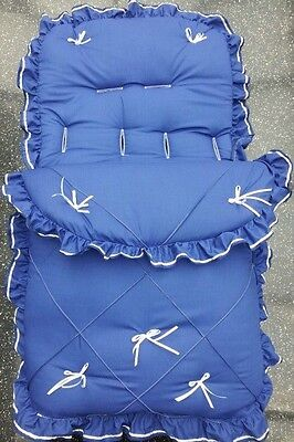 Baby's Cosy Toes / Footmuff 3-in-1 IN ROYAL BLUE WHITE PINTUCK DESIGN