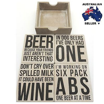 'Beer/Wine' Quote Wooden Drink Coasters Set of 4 - Bar & Home Decor- Great Gift