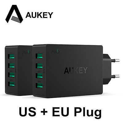 Aukey 4 USB Wall Charger Multi-Port Phone Power Adapter Fast Charge For Samsung