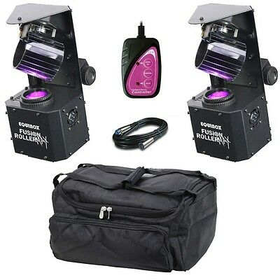 2x Equinox Fusion Roller MAX DJ Disco Stage Club Scanners with Bag & Controller