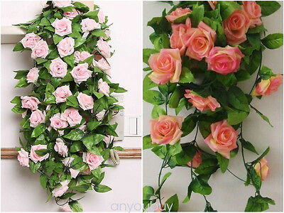 2.4m long Silk Rose Flower Ivy Vine Leaf Garland Wedding Party bouquet 4 Colors