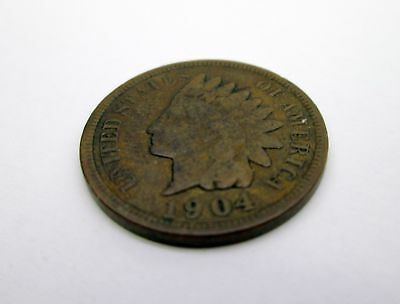 1904 US Indian Head PENNY 1 c coin USA American currency  - VG very good example