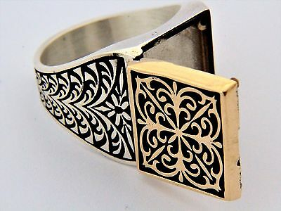Ottoman Style  Ring  Locket Hinged Ring Solid 925 Sterling Silver Men s Ring