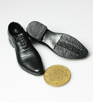 "1/6 Scale Fashion Black  Leather Men's Shoe With feet For 12"" Male Figure Body"