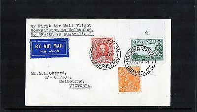 1934 Rockhampton-Melbourne 1st Flight Cover, Air Mail Plate NO, 3 Stamps, MC
