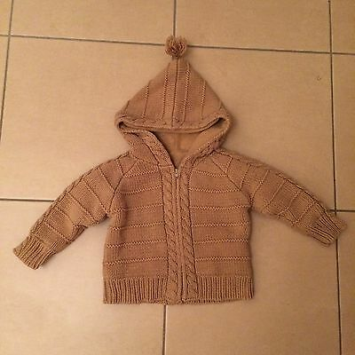 Mothercare Baby Knitted Jacket With Hood Warm Thick Lined Zip Aged 9-12 Months