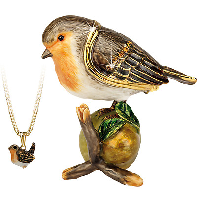 Secrets Hidden Treasures Robin Bird Pewter Trinket Box and Pendant 1030 RRP33