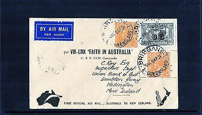 1934 Brisbane To NZ First Flight Cover, 6d OS Air Mail & 2 KGV, Mint Condition