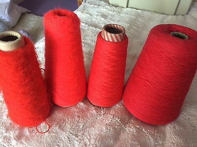 650g Lot Of Bright Red Yarns 1ply 2ply