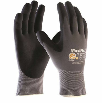 10 Pairs ATG Work Gloves MaxiFlex Ultimate 34-874/42-874 Nitrile Palm Coated