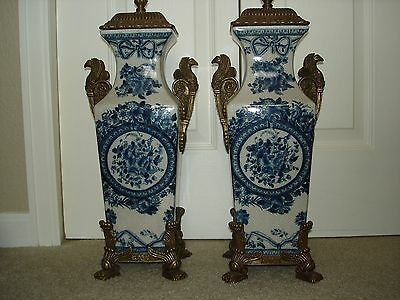 Blue And White French Style Porcelain Urns With Bronze Ormolu