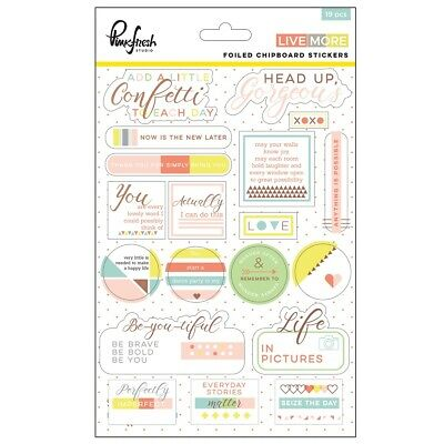 Pinkfresh Studio - Live More - Copper Foiled Chipboard Stickers