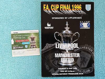 1996 - FA CUP FINAL PROGRAMME + MATCH TICKET - LIVERPOOL v MANCHESTER UNITED