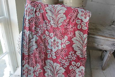 Antique French 18th century block print c1790 resist printed fabric material