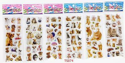 6 sheets*3D/lot Stereoscopic cartoon animals sticker cat/dog kids gift