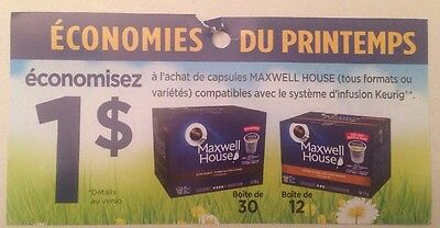 Lot 10 x 1.00$ MAXWELL HOUSE Keurig Canada Coupons