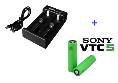 2 batterie Sony VTC5 18650  + Caricabatterie con 2 canali ricarica indipendenti