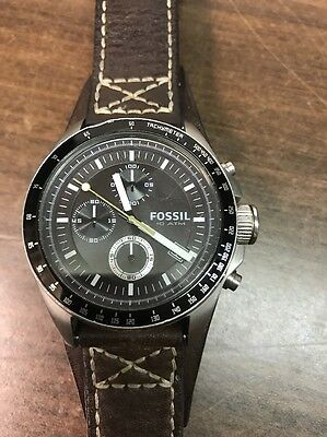 """Fossil CH2599 """"DECKER"""" Chronograph Watch With Cuff Leather Band Free Shipping"""