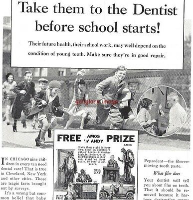 1931 Pepsodent Tooth Paste Vintage Print Ad Take Your Children For Dental Care