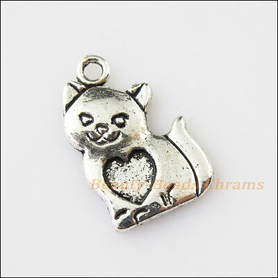 10 New Heart Animal Cat Tibetan Silver Tone Charms Pendants 13.5x21.5mm