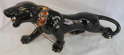 Vintage Retro Black Panther Figure W/ Green Rhinestone Eyes & Gold Accents