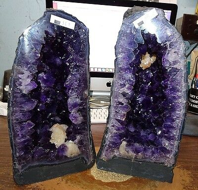 Dual Steepal Brazilian Amethyst Crystal Cathedral Cluster Geode Pair  Best Grade